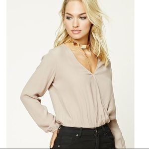 NWT Forever 21 Taupe Long Sleeve Blouse Bodysuit L